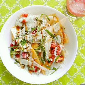 Jicama and Blood Orange Salad with Mint Cream and Pomegranate Molasses
