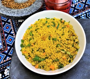 Moroccan Couscous Salad with Golden Raisins, Cashews, and Carrots